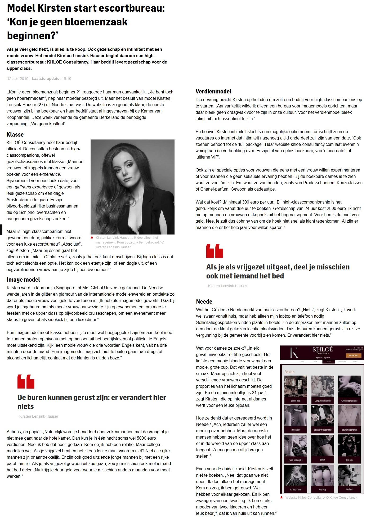 Artikel KHLOÉ Consultancy - Algemeen Dagblad